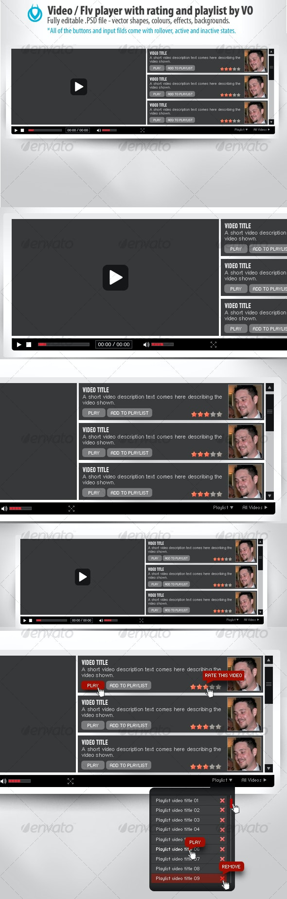 Video / Flv video player with playlist and ratings - Web Elements