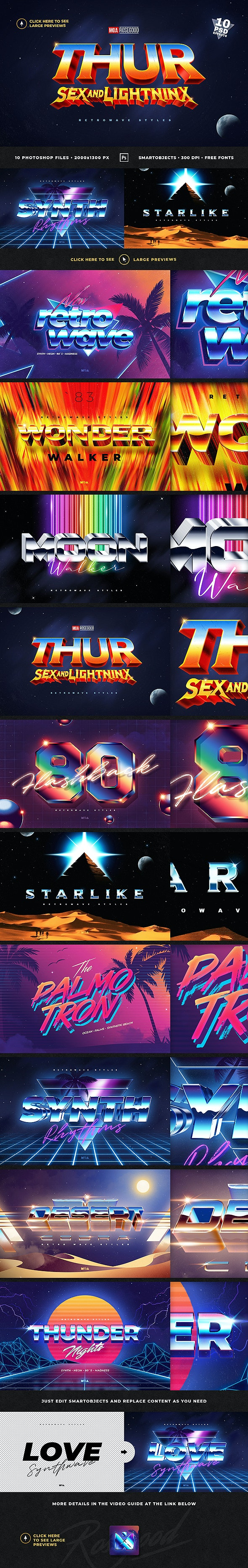 80s Retro Text Effects Retrowave Synthwave - Photo Effects Actions