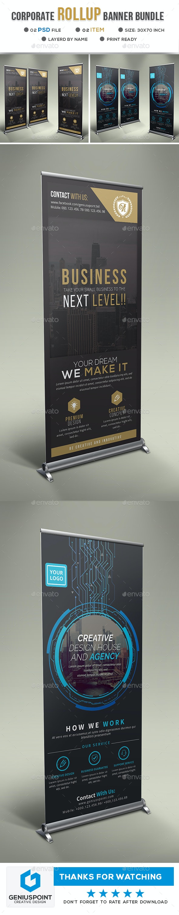 Corporate Business Roll-up Banner Bundle - Signage Print Templates
