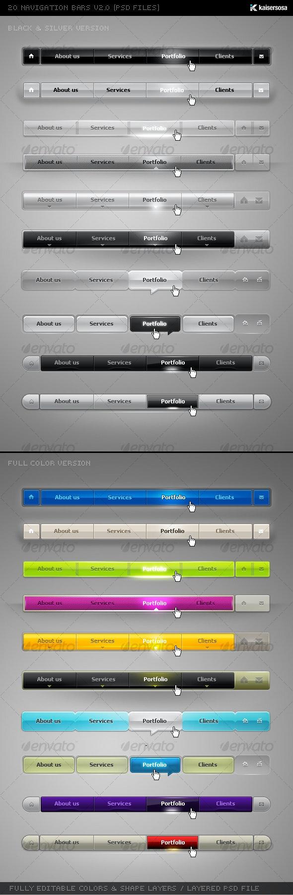 20 Nav Bars v2 - Web Elements