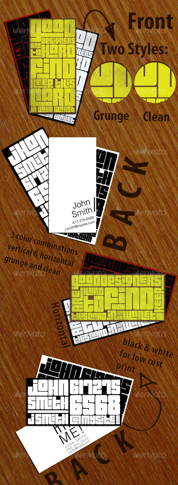 Typography Mini Business Card - Grunge Business Cards