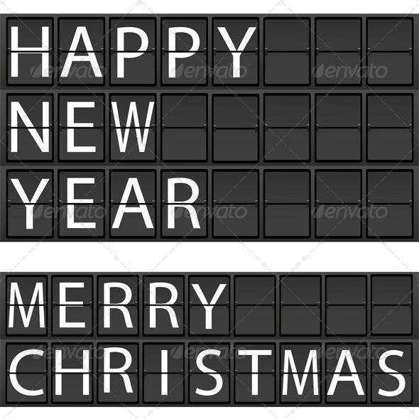 New Year's concept of an electronic scoreboard - Characters Vectors