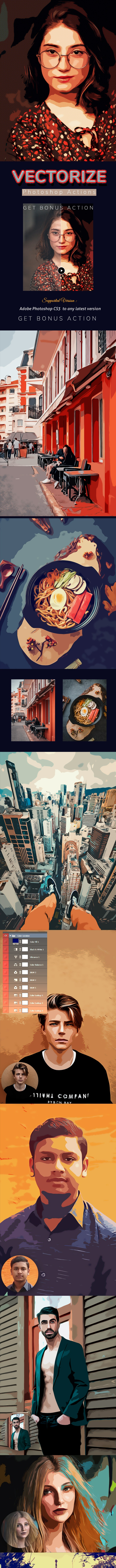 Vectorize Action - Photo Effects Actions