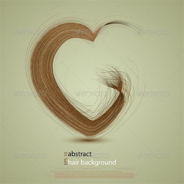 Vector hair in the shape of a heart