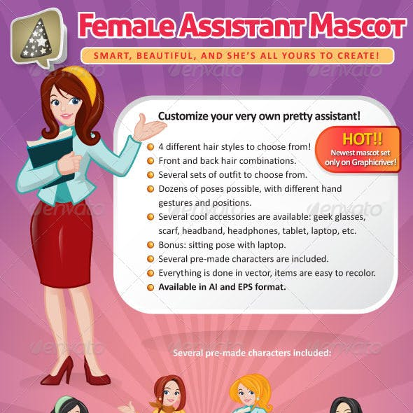 Female Assistant Mascot Creation Kit