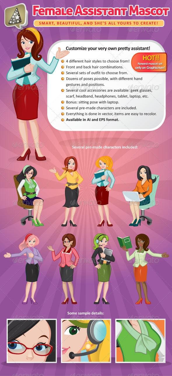 Female Assistant Mascot Creation Kit - Characters Vectors