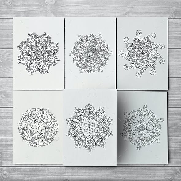 10 Zentangle Inspired Vector Coloring Pages with Oriental Mandalas