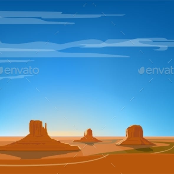 Monument Valley Vector Illustration