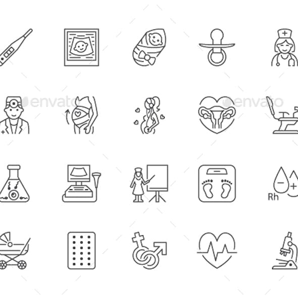 Gynecology Line Icons