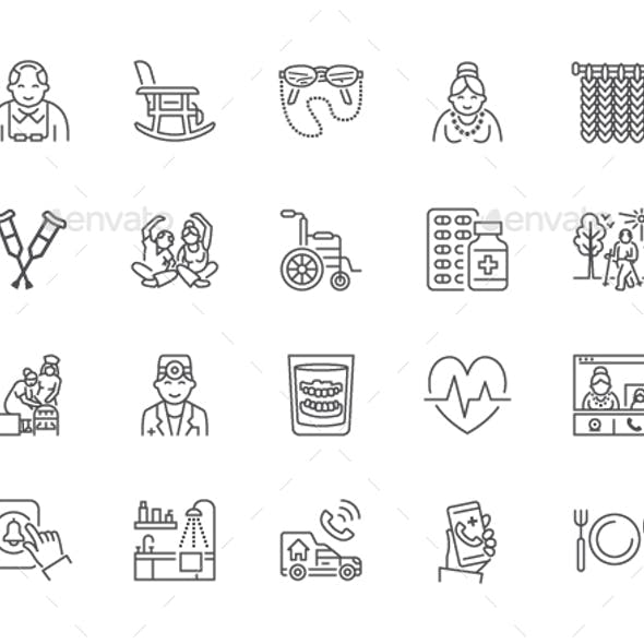 Elderly Care Line Icons
