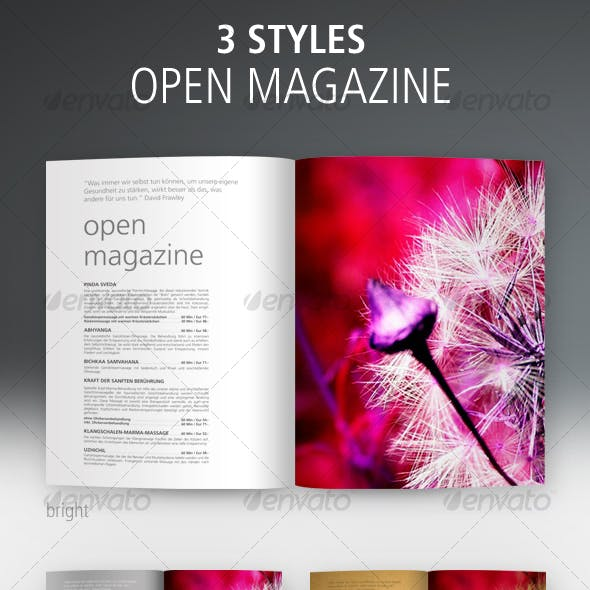 Open Magazine, 3 Styles: Bright, Dark, Sepia