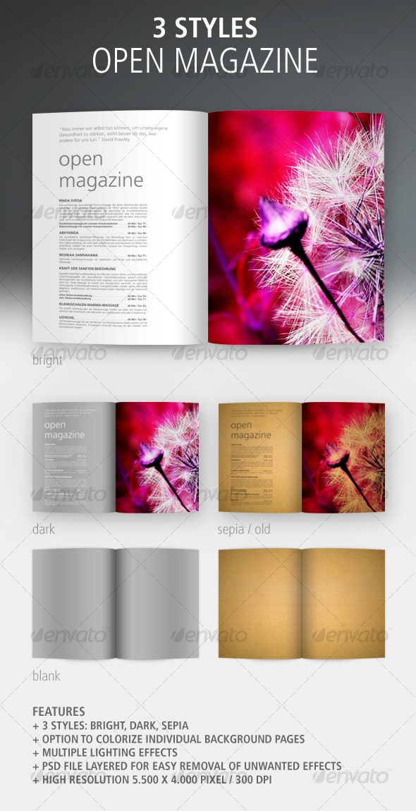 Open Magazine, 3 Styles: Bright, Dark, Sepia - Magazines Print Templates