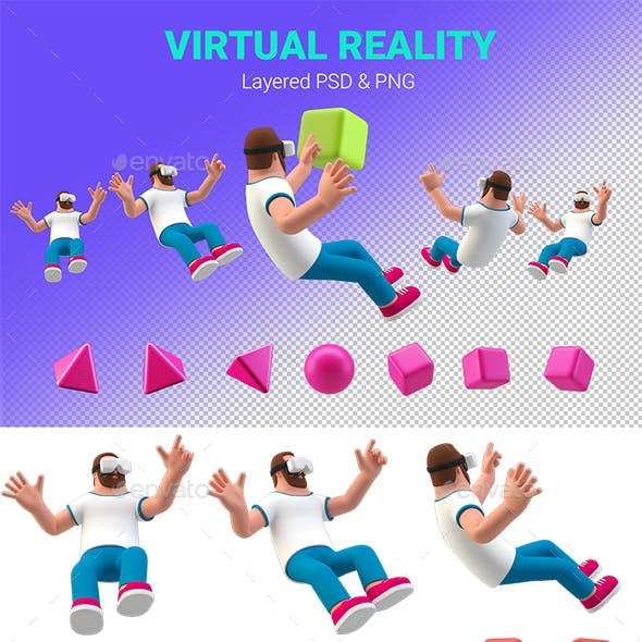 Virtual Reality 3D illustration Man in VR glasses