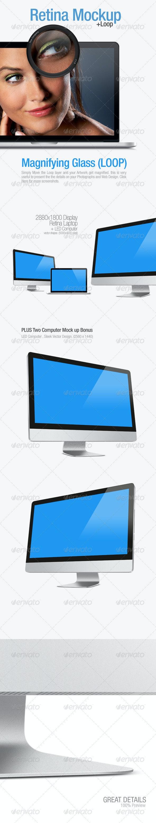 Retina Laptop Mock up - Monitors Displays