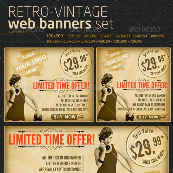 Web Banners - Retro-Vintage Set