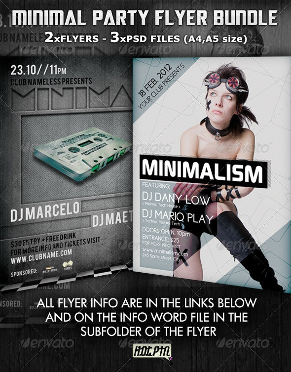 Minimal Party Flyer Template Bundle - Clubs & Parties Events