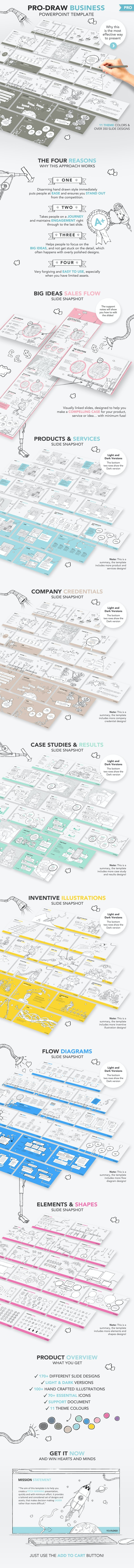 Pro-Draw Business Pitch PowerPoint Template - Pitch Deck PowerPoint Templates