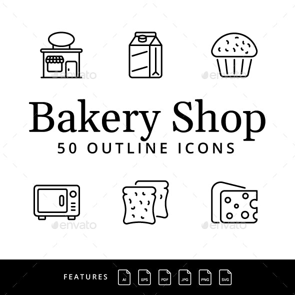 Bakery Shop Thin Line Icons - Food Objects