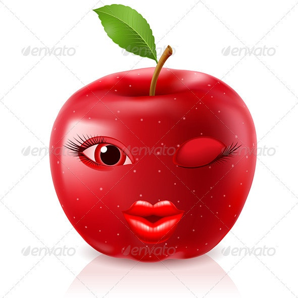 Cartoon Red Apple - Miscellaneous Characters