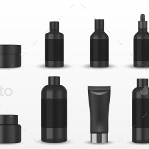 Realistic Blank Black Cosmetic Tubes Isolated