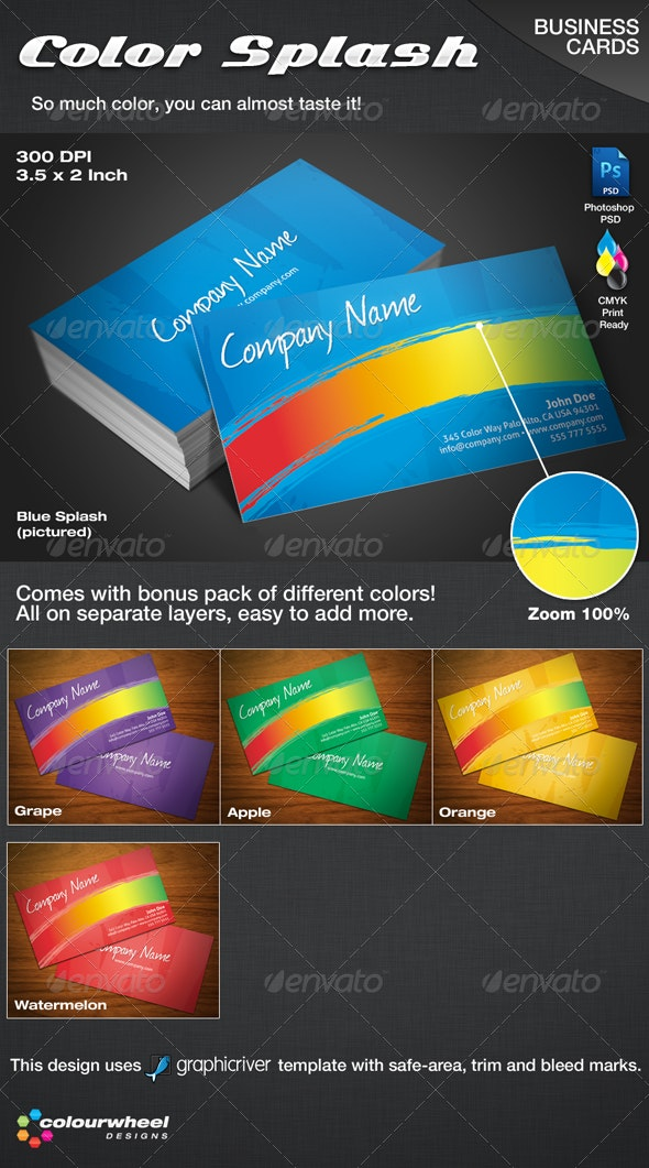 Color Splash Business Cards - Creative Business Cards