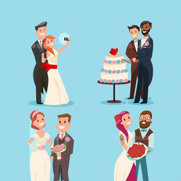 Weddings Couple Vector Cartoon Character Set.