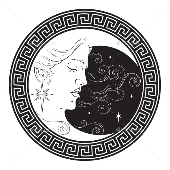 Crescent Moon in Antique Style