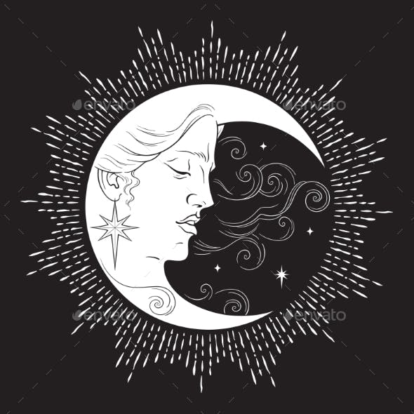 Crescent Moon and Stars in Antique Style
