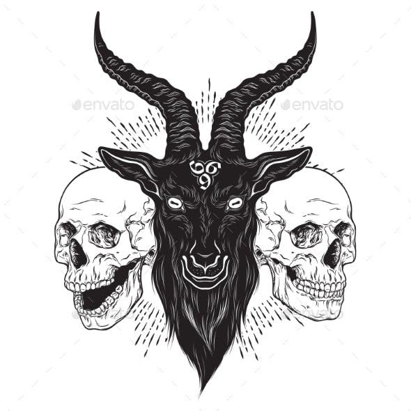 Baphomet Demon Goat Head and Human Skulls