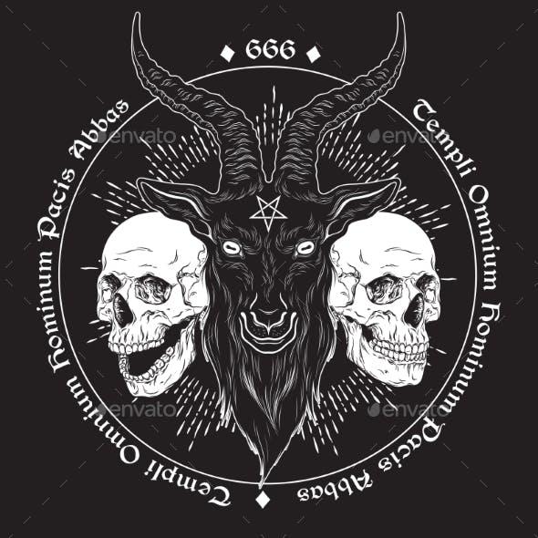 Baphomet Demon Goat Head