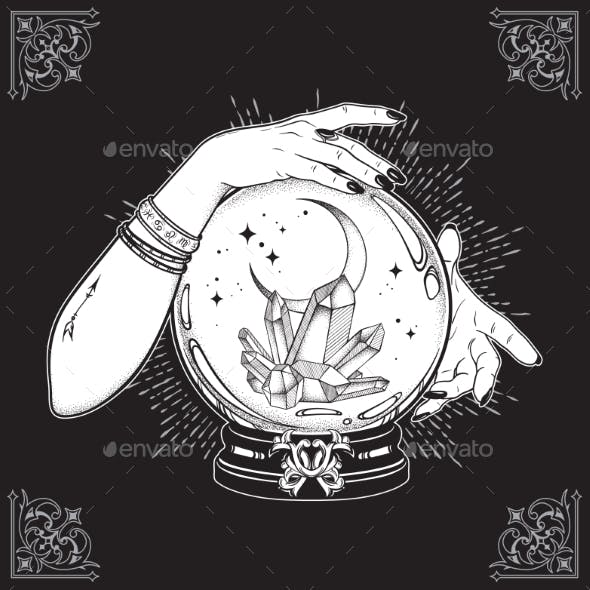 Hand Drawn Magic Crystal Ball with Gems and Moon