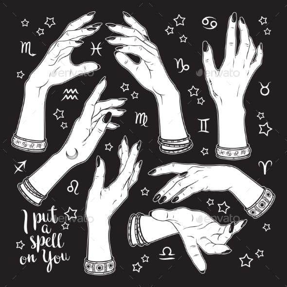 Hand Drawn Set of Female Witches Hands