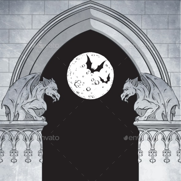 Gothic Arch with Gargoyles and Full Moon Hand - Miscellaneous Vectors