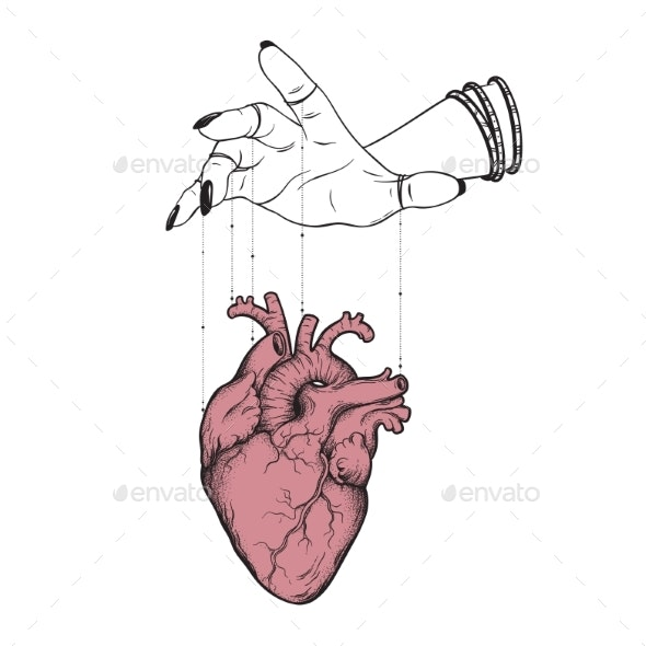 Puppet Masters Hand Controls Human Heart Isolated - Health/Medicine Conceptual