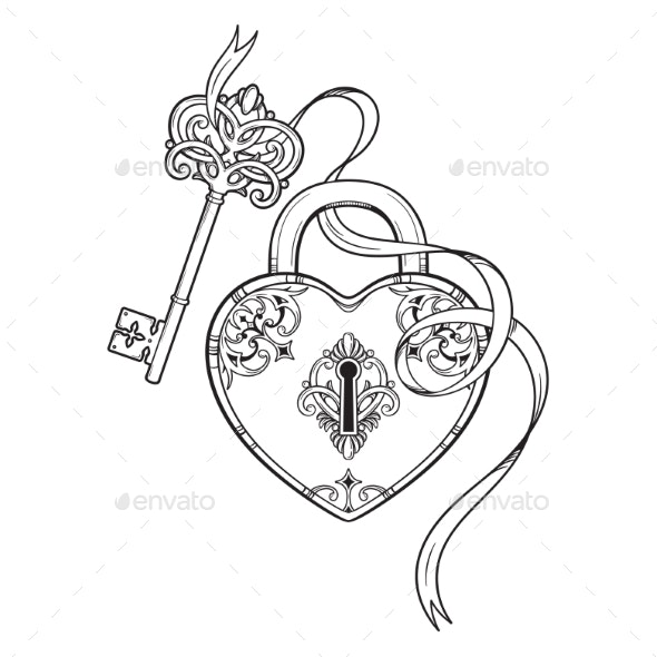Key and Heart Shaped Padlock in Vintage Style - Objects Vectors