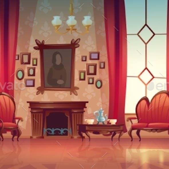 Vector Interior of Victorian Living Room
