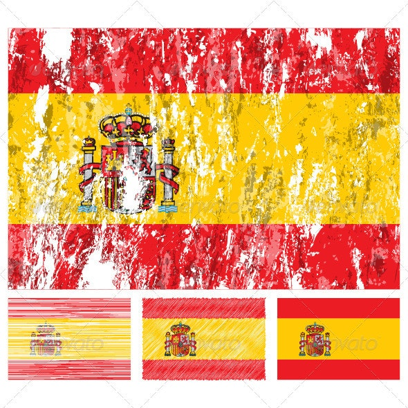Spain grunge flag set - Travel Conceptual