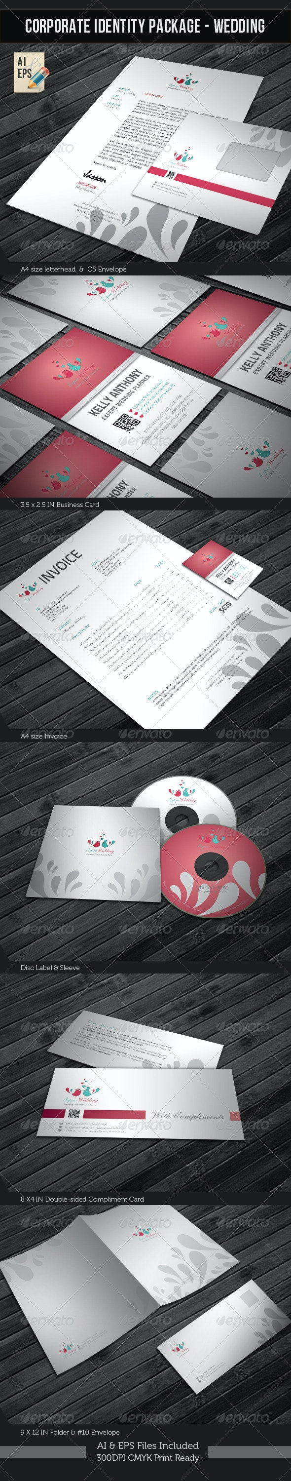 Corporate Identity Package - Wedding Planner - Stationery Print Templates