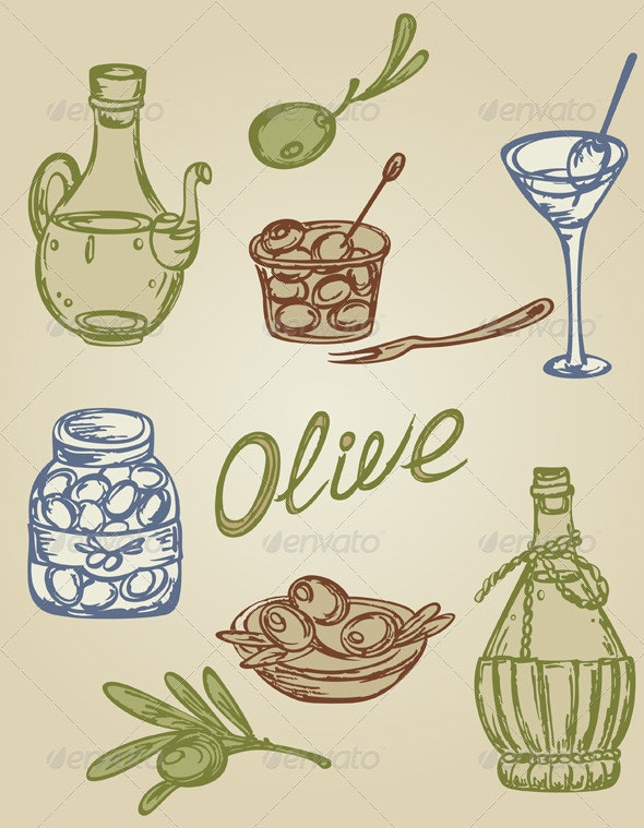 Retro Olive Icons - Food Objects