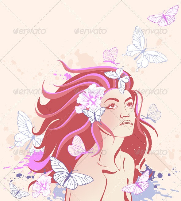 Beautiful Girl and Butterflies - People Characters