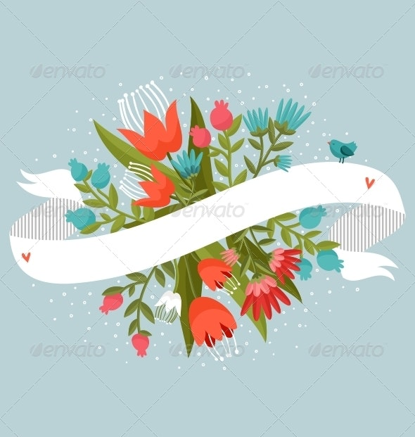 Flowers With Ribbon - Decorative Vectors