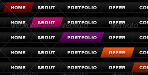 10-color skewed menu - Web Elements