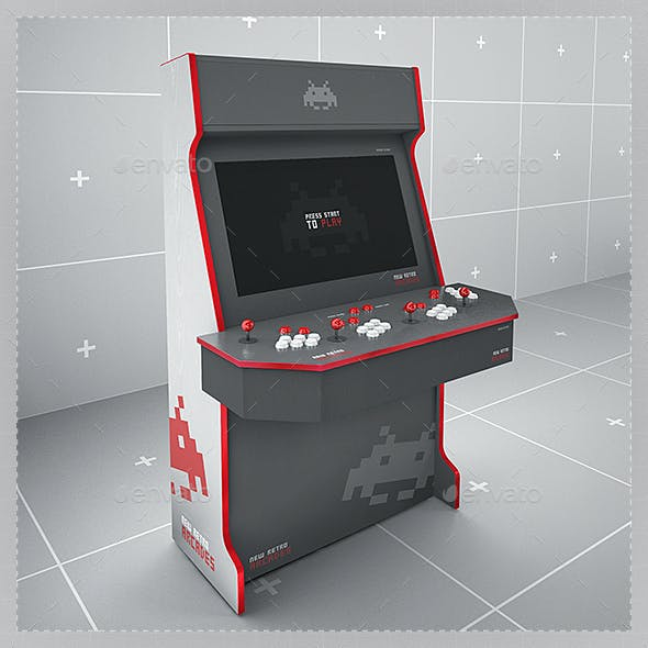 Retro Gaming Arcade Cabinet Mockup Four Players Template