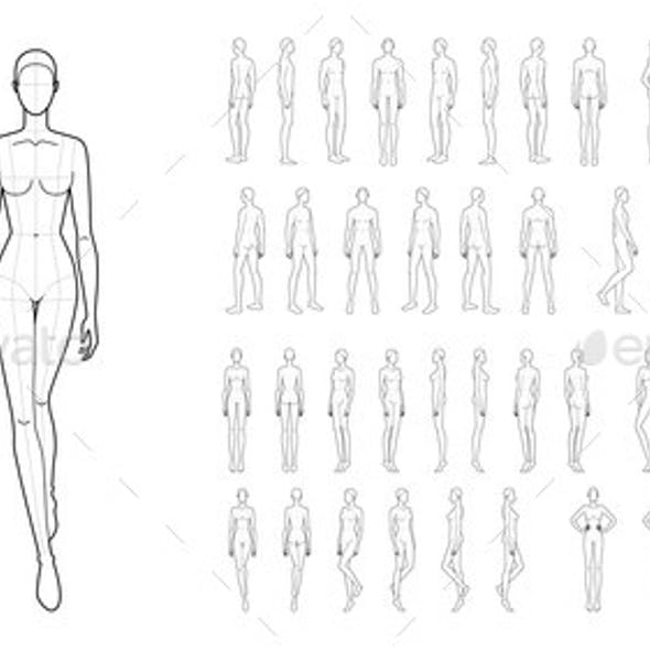 Fashion Template of 50 Men and Women