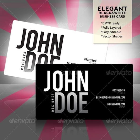 Elegant Black & White Business Card