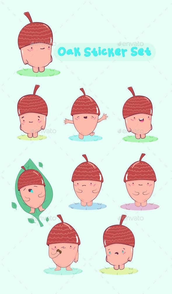 Oak Sticker Set - Miscellaneous Characters