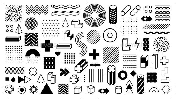 Memphis Geometric Shapes - Miscellaneous Vectors