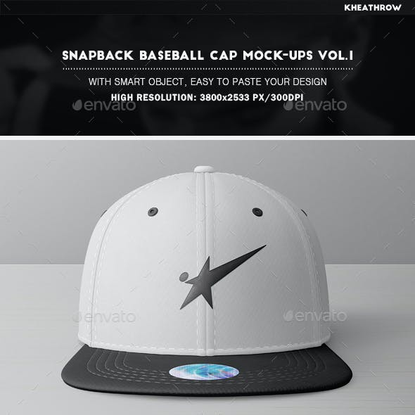 Snapback Baseball Cap Mock-Ups Vol.1