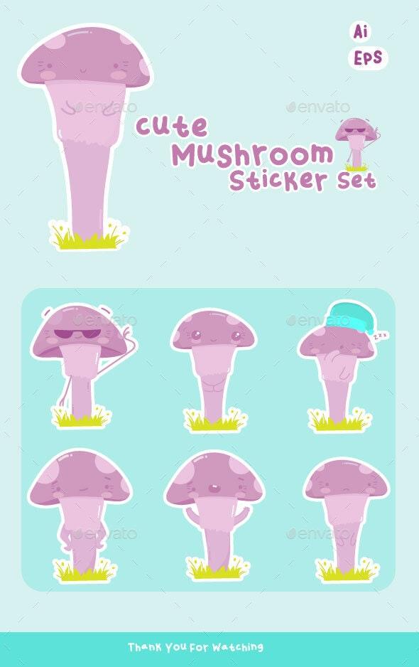 Mushroom Sticker Set - Characters Vectors