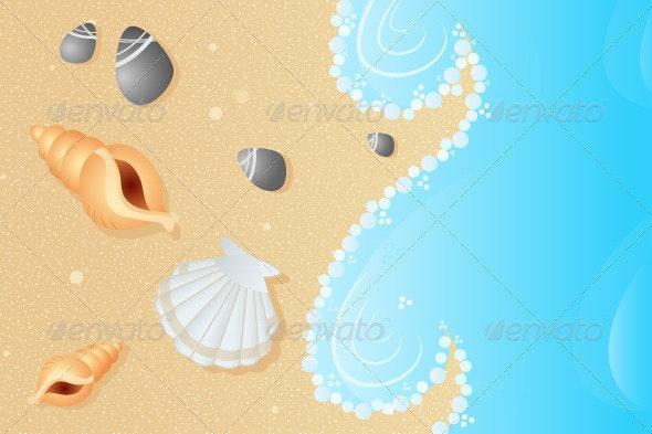 Seashells on a Beach - Decorative Vectors